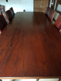 Solid Oak Dutch Dining Table and 8 Leather Chairs