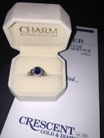 Blue sapphire and silver ring - crescent jewellers