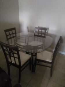 Glass Dinning Room Table and Chair Set