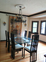 Contemporary Glass Dining Table and 8 Chairs