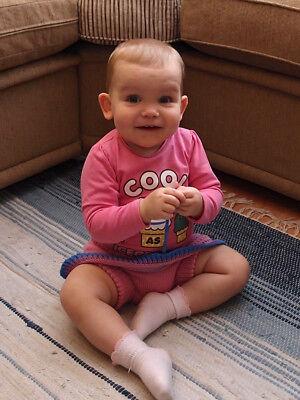 как выглядит Трусики под подгузники Diaper Cover Skirt 100 % MERINO WOOL baby girl cloth nappy soaker hand knitted фото