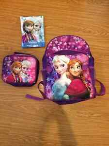 Frozen backpack and lunchkit, with frozen puzzle