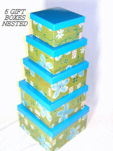 5 nesting card stock boxes with lids, new, all same design