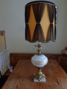 2 Vintage LARGE retro Lamps with Shades