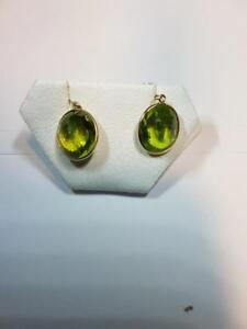 14K Gold Peridot Earrings, Appraised at $2644!
