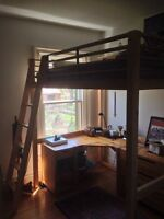 IKEA loft bed and desk unit - double bed comes with mattress