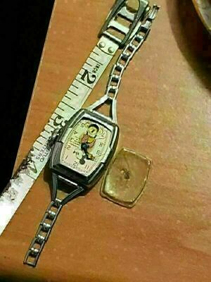 vintage antique 1930s Disney Ingersoll mickey mouse deluxe wrist watch As Is Rep