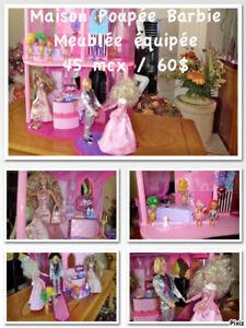 Maison Poupée Barbie |Meublée équipée| 45 mcx / 60$