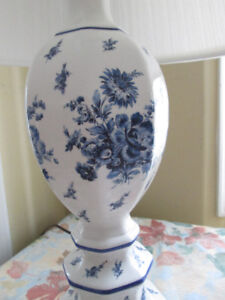 "Lovely Antique 26"" High Table Lamp--White with Blue Roses"