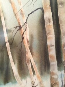 White Birch Trees, Wooden Framed Original Vintage Watercolor Can