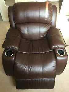 Brown Electric Reclining Chair with Cup Holders