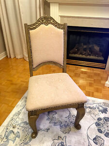 12 SOLID WOOD DINING CHAIRS WITH TOP GRADE BROCADE FABRIC