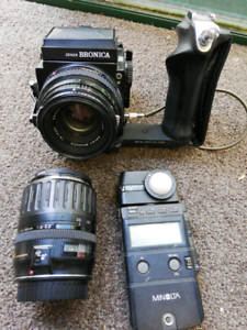 Mf camera, Canon lens and flash meter IV