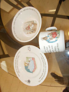 Wedge Wood Beatrix Potter plate, bowl and up