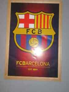 MESSI AND TEAM LOGO wood framed SOCCER posters