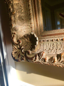 Fabulous very large ornate gold guild mirror