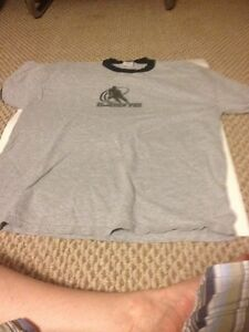 Grey T with Black Accents on sleeves and neck, with Hockey PEI