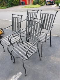 Metal garden chairs x 4