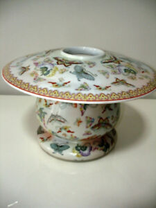 ASIAN porcelain BUTTERFLY CANDLE JAR cloisonné STUNNING large