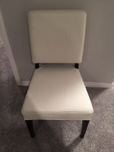 Urban Barn White Leather Chairs Dining x 4