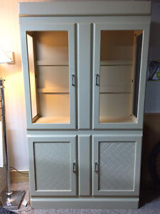 Solid maple display cabinet with glass shelving