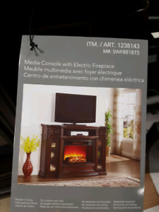 Beautiful mantle with media console electric fireplace