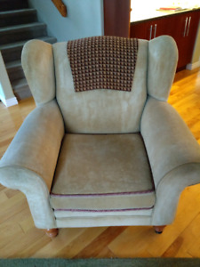 Light green Wing Back Chair.