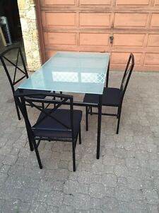 Modern Glass Dining Room Table W/ 3 Matching Chairs