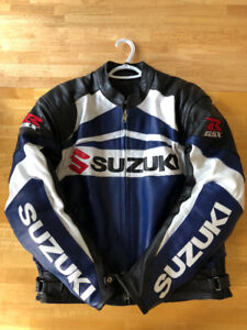 Suzuki GSXR Full Armored Motorcycle Leather Jacket (BARELY USED)