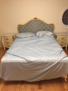 Complete bedroom set (3 pcs) wood and marble  + Queen size bed