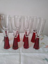 Modern Brand New wine flute red stemmed glasses