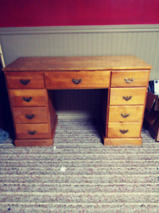 Antique Writing Desk. Multiple drawers.