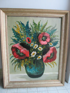 Hand Oil Painted Flowers