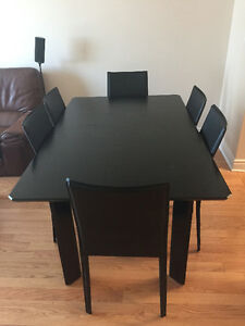 Beautiful black solid wood 7 piece dining table set