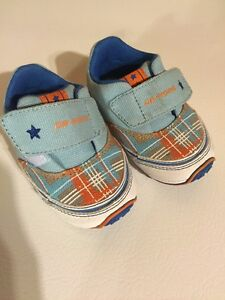 Dr. Kong baby shoes blue and orange checker size US 5.5 / Eur 21