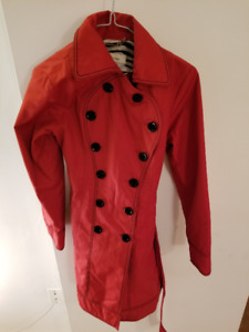 Red Rain Trench Coat Size Small (Brand: Laundry by design)