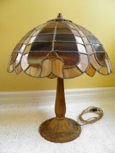 Leaded Glass Cast Iron Lamp