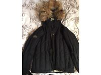 Ladies small (10) bonfire Snowboarding / ski jacket padded quilted black with fur hood