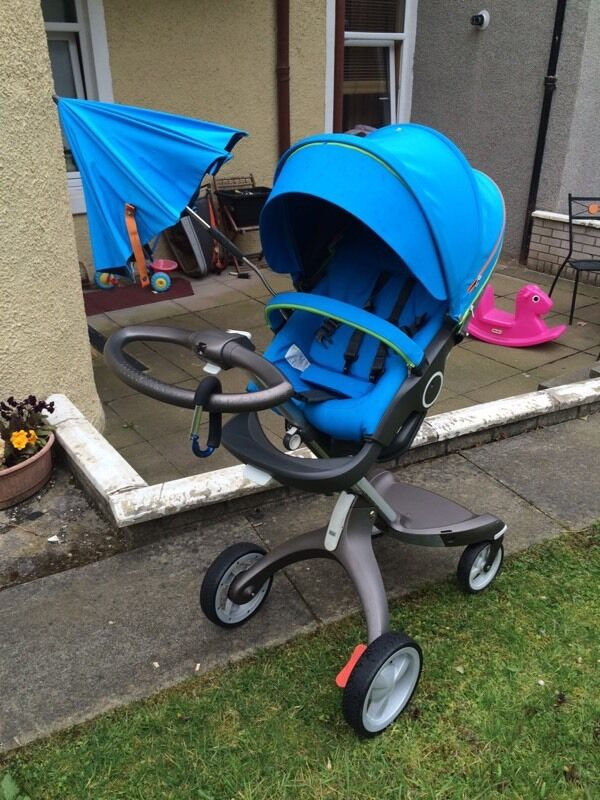 Stokke Xplory V4 Urban Blue Pram And Attachable Car