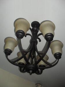 Plafonier metal noir 6 ampoules