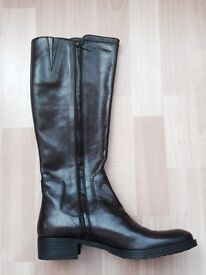 Geox bnwt size UK 6 chocolate knee high pointed flat sole real leather boots woman