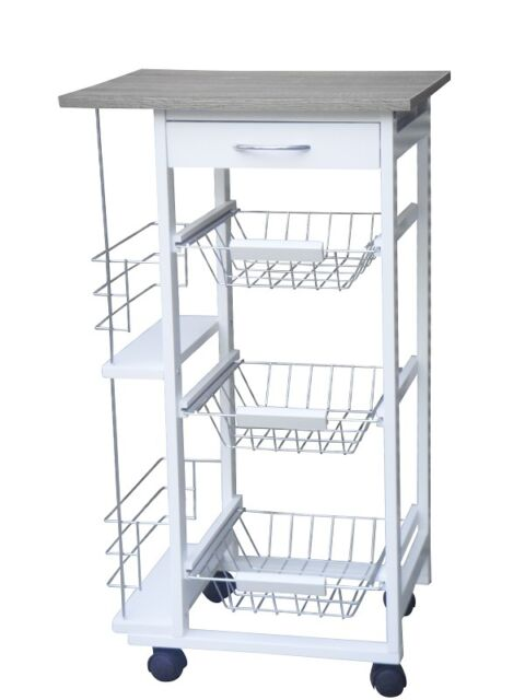 White Kitchen Trolley 3 tier 1 drawer with 2 side compartments white kitchen trolley