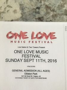 One Love Music Sunday Ticket! NEED GONE