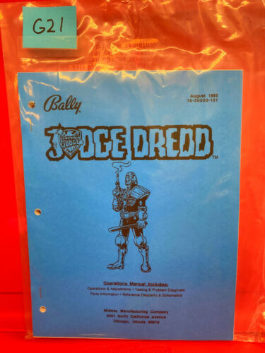 Judge Dredd Bally Pinball Instruction/Operation/Service/Repair Manual Guide G21