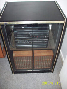 Audio storage cabinet + compact AM-FM stereo