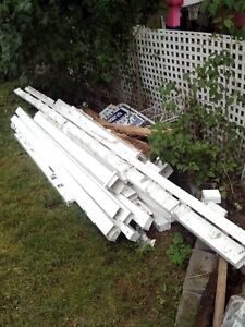 used white vinyl posts, rafters and sheeting