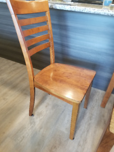 Wooden table with two chairs.  Can easily extend on both sides.