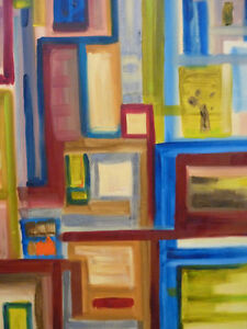 """Abstract Corners, Original Oil Painting (20""""x24"""")"""