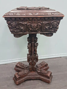 Antique English Carved Oak Teapoy