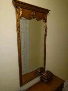 Antique bronze mirror with Walnut ( distressed) bought in 1965.